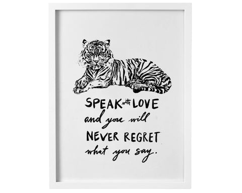 Speak with Love Tiger digital download print - Baby Jives Co