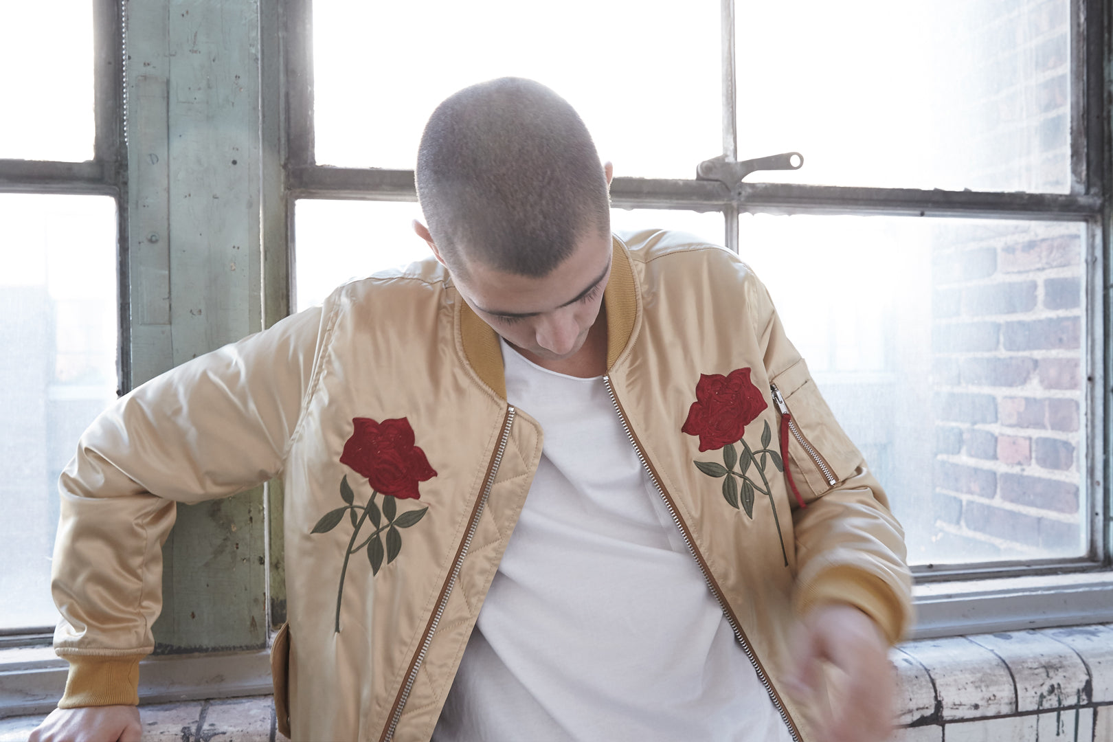 gold embroidered rose bomber jacket by profound aesthetic
