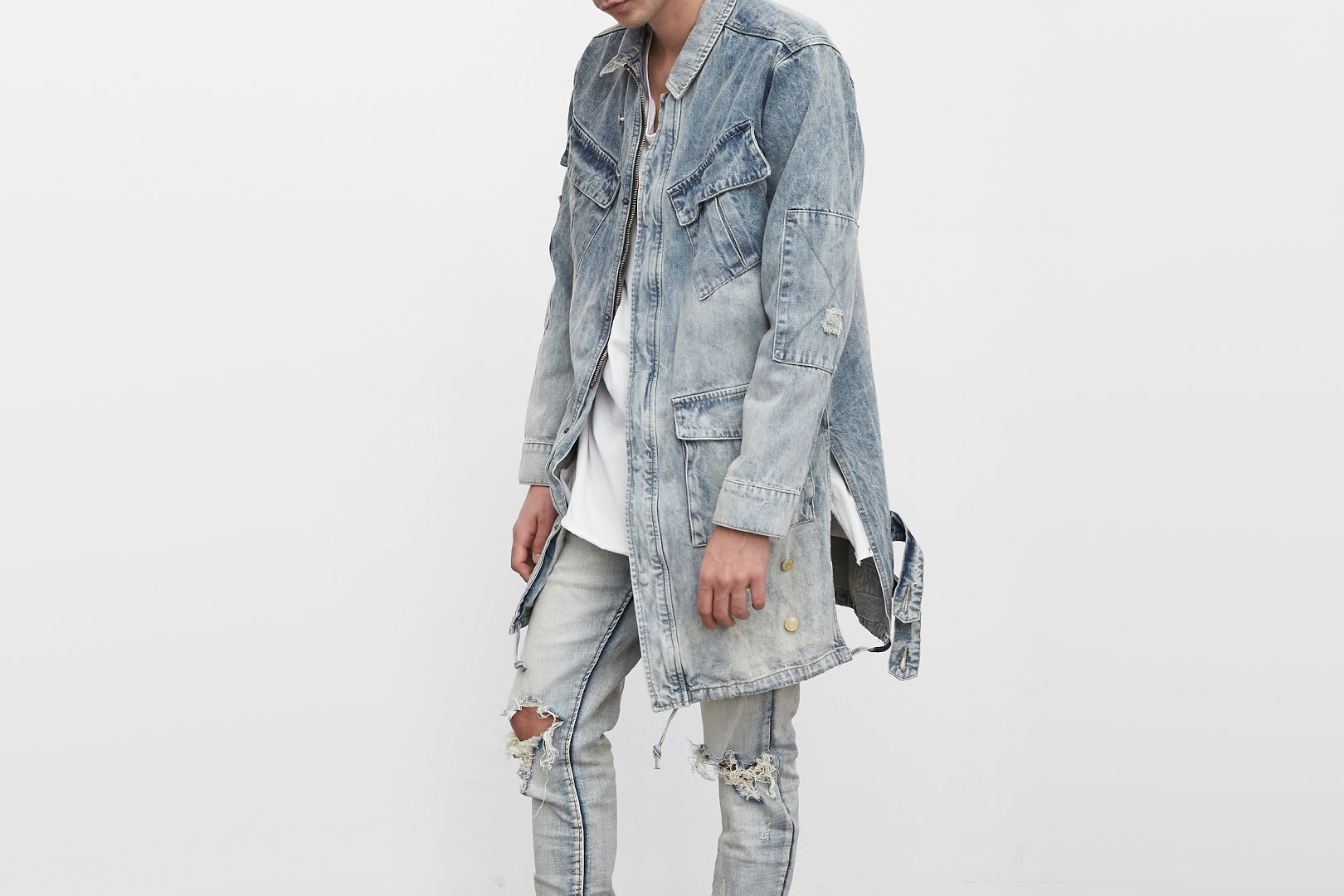 denim long strap jacket by profound aesthetic