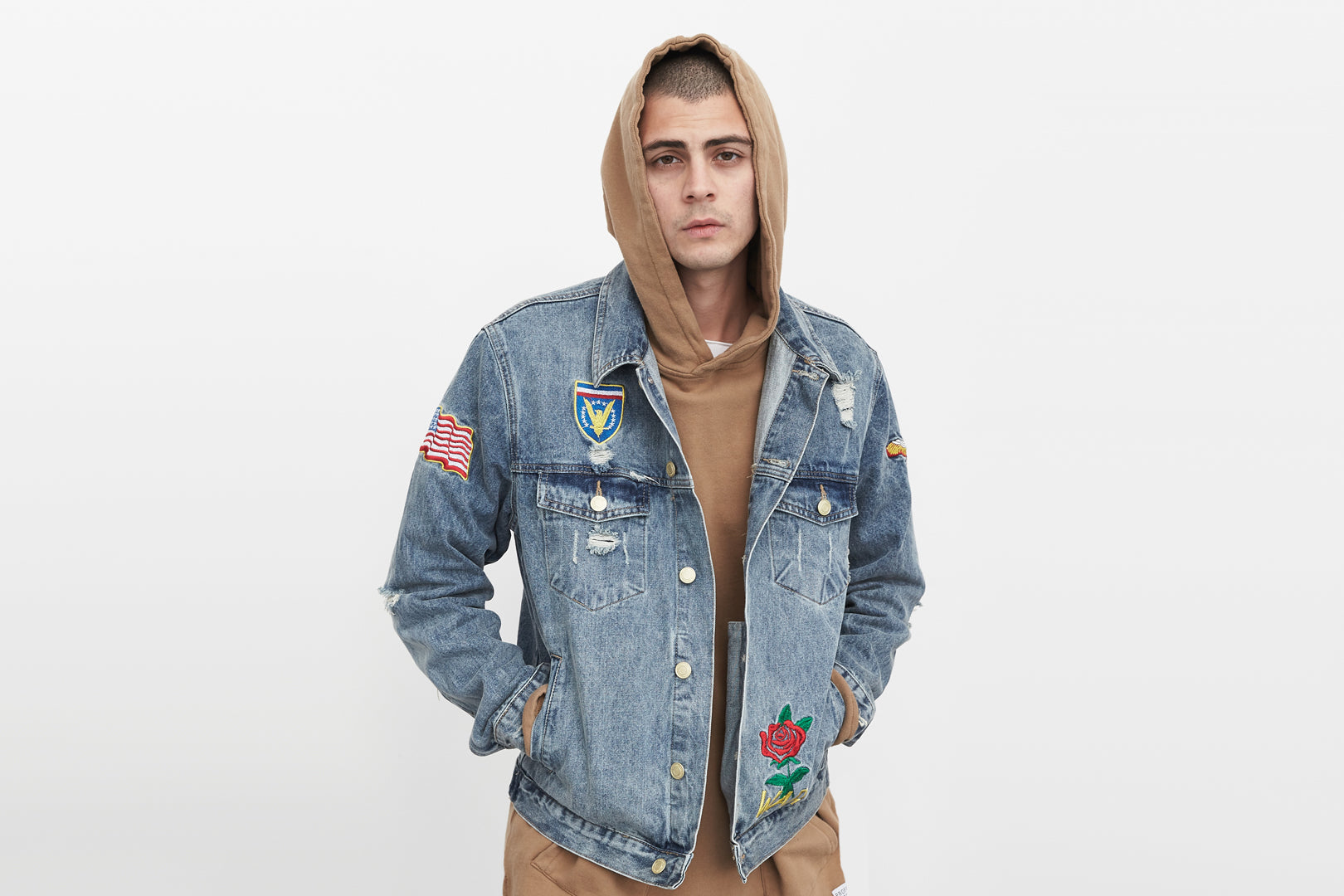 embroidered denim jacket by profound aesthetic