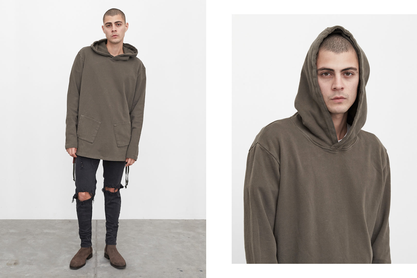 olive diagonal pocket hoodie by profound aesthetic