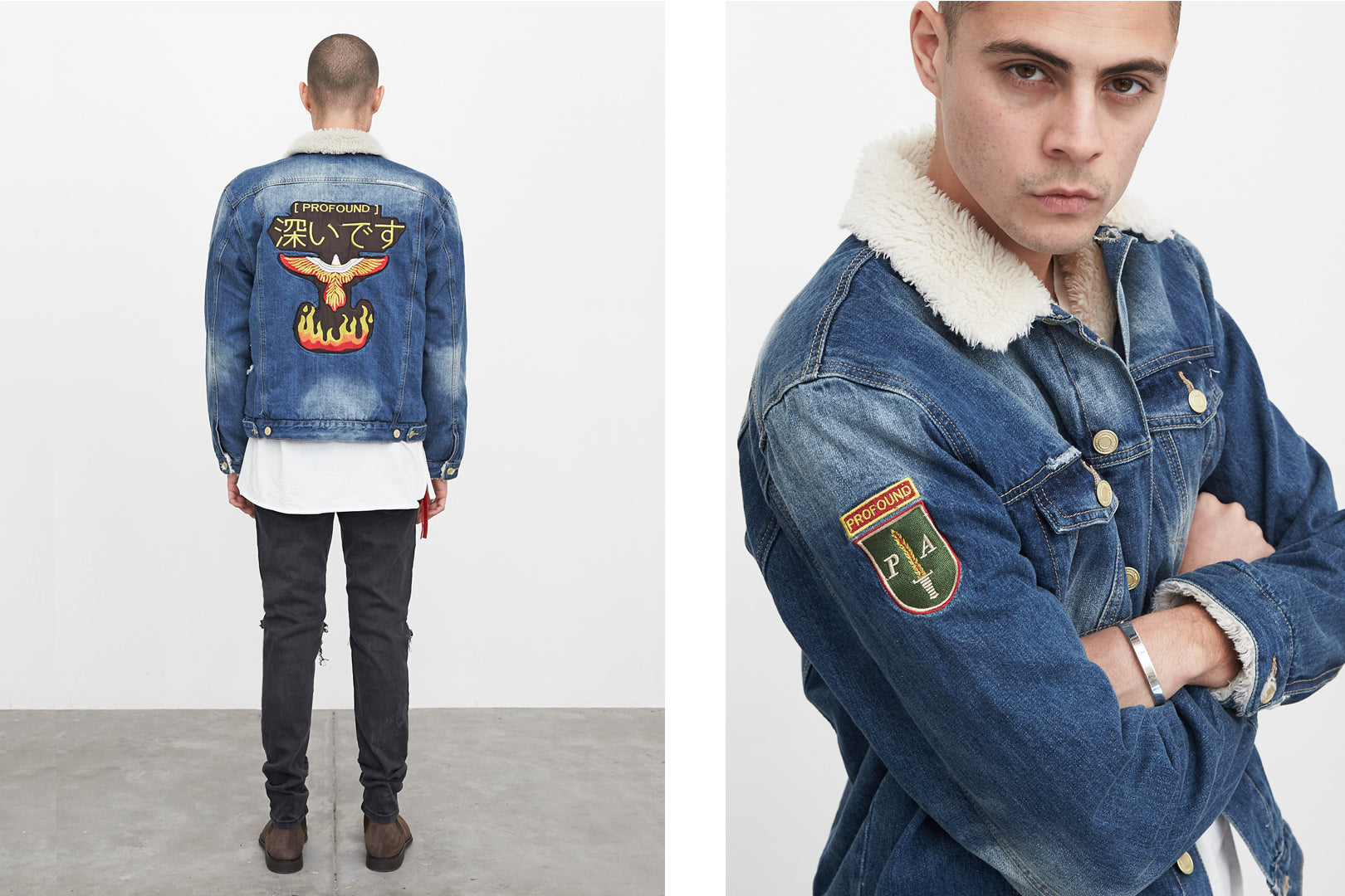 sherpa denim jacket by profound aesthetic