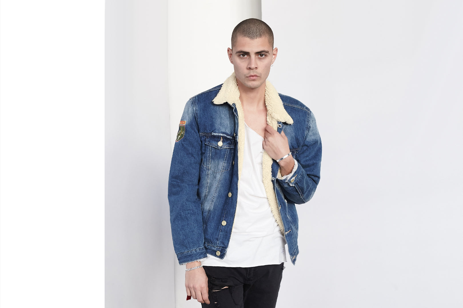 denim sherpa jacket by profound aesthetic
