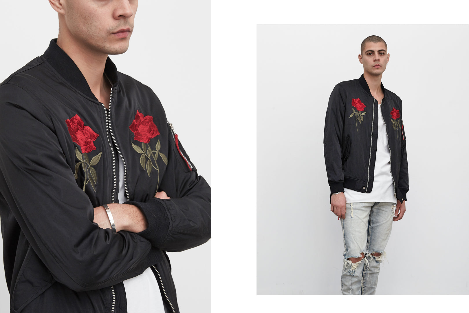 embroidered rose black bomber by profound aesthetic