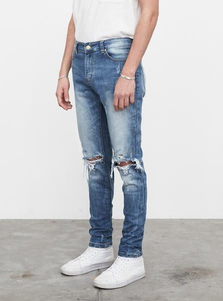 Medium Blue Wash Destroyed Denim Jeans