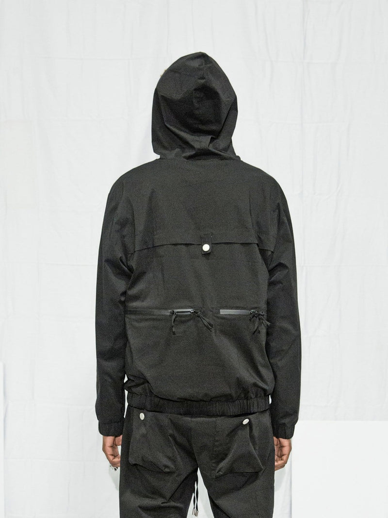 Nylon Tech Pullover Jacket in Black