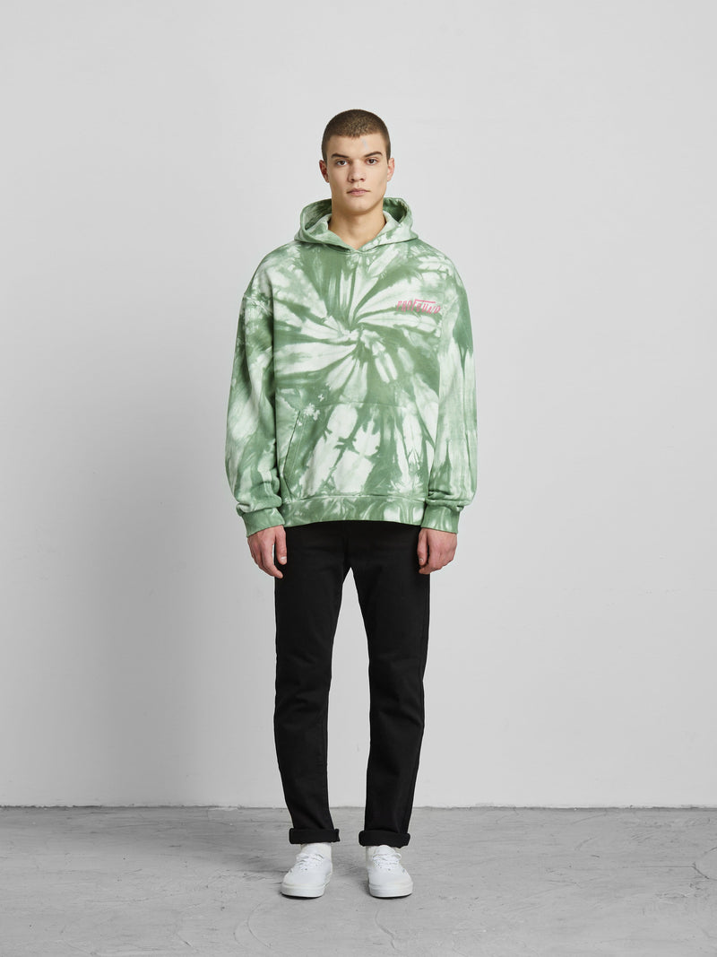 Green and White Tie Dye Graphic Hoodie (4443482652743)