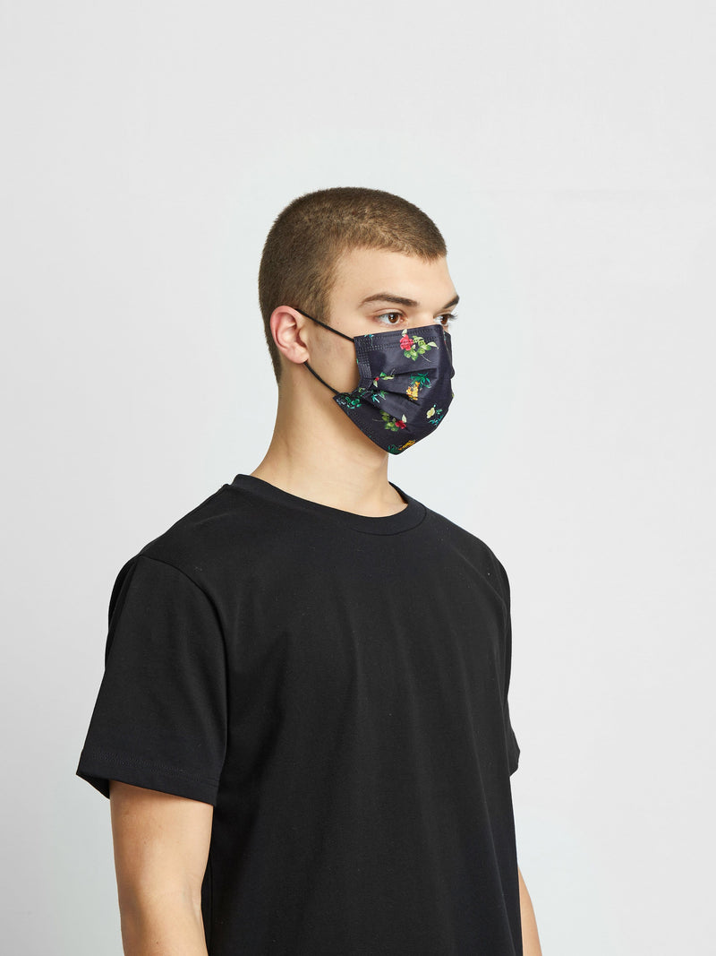 6 Pack | Floral Filtered Fabric Face Mask in Deep Navy (4878614888519)