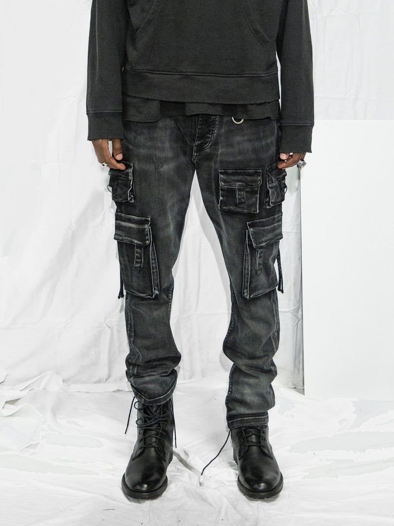 Utility Denim Jeans in Washed Black (4448315703367)