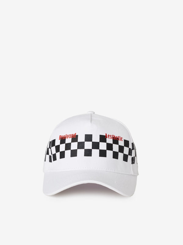 Checkered Racing Cap in White