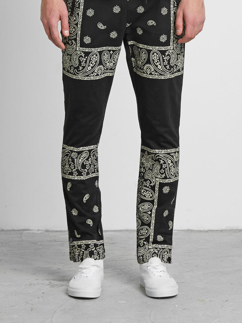 Bandana Paisley Cotton Twill Pants in Vintage Black (6088576467134)