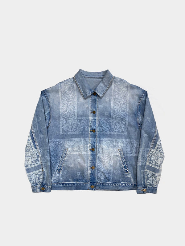Sample | Washed-Print Bandana Paisley Denim Jacket