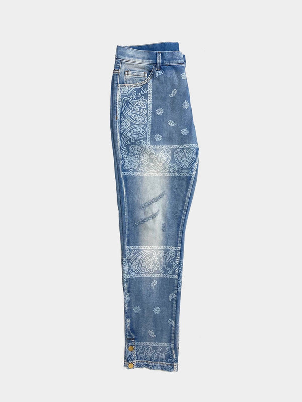 Sample | Washed-Print Bandana Paisley Denim Jeans