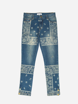 Sand-Washed Denim Bandana Paisley Jeans (6101147910334)