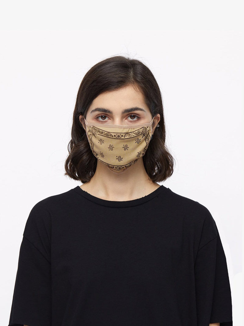 Bandana Sand Paisley Cotton Face Mask (4561114071111)