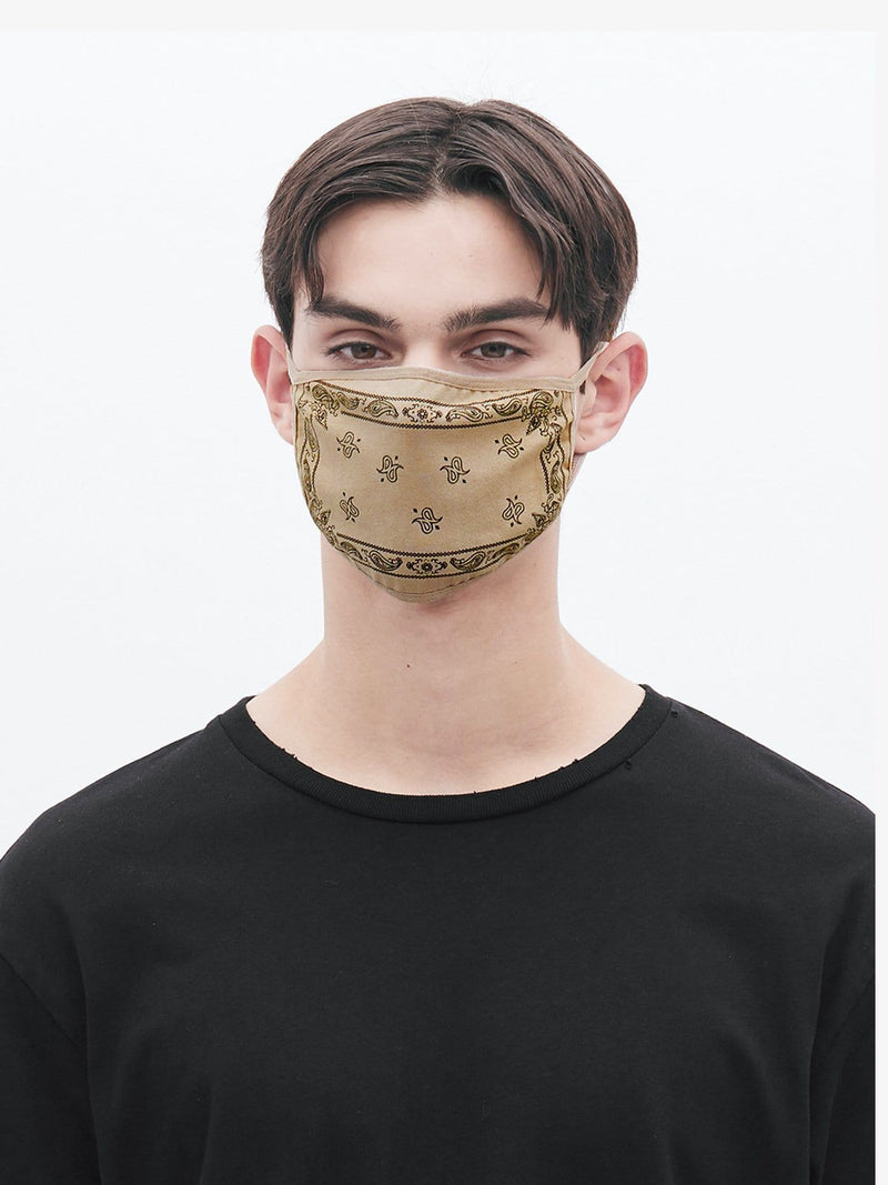 Bandana Sand Paisley Cotton Face Mask