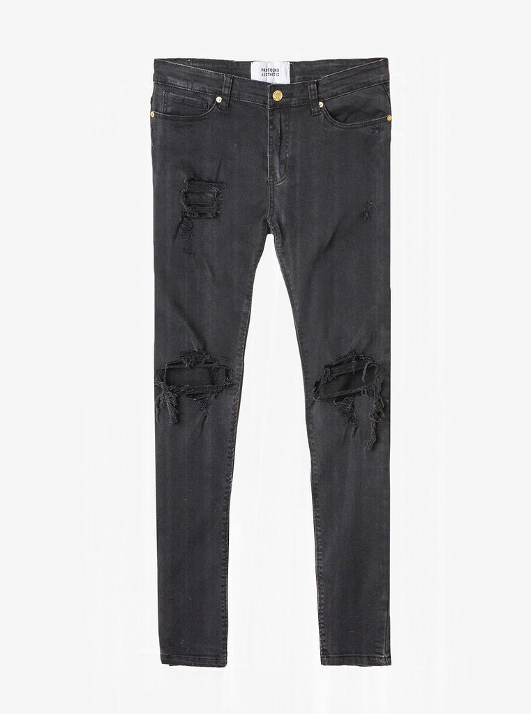 [PRE-ORDER] Washed Black Destroyed Denim Jeans