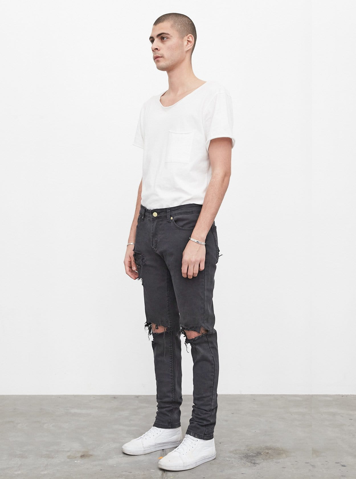 Washed Black Destroyed Denim Jeans