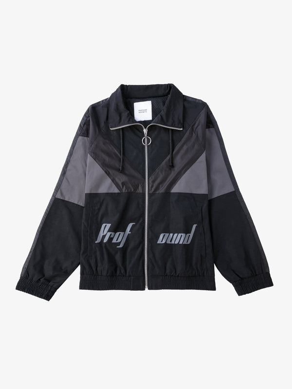 Black Color Blocked Satin Stripe Windbreaker Jacket