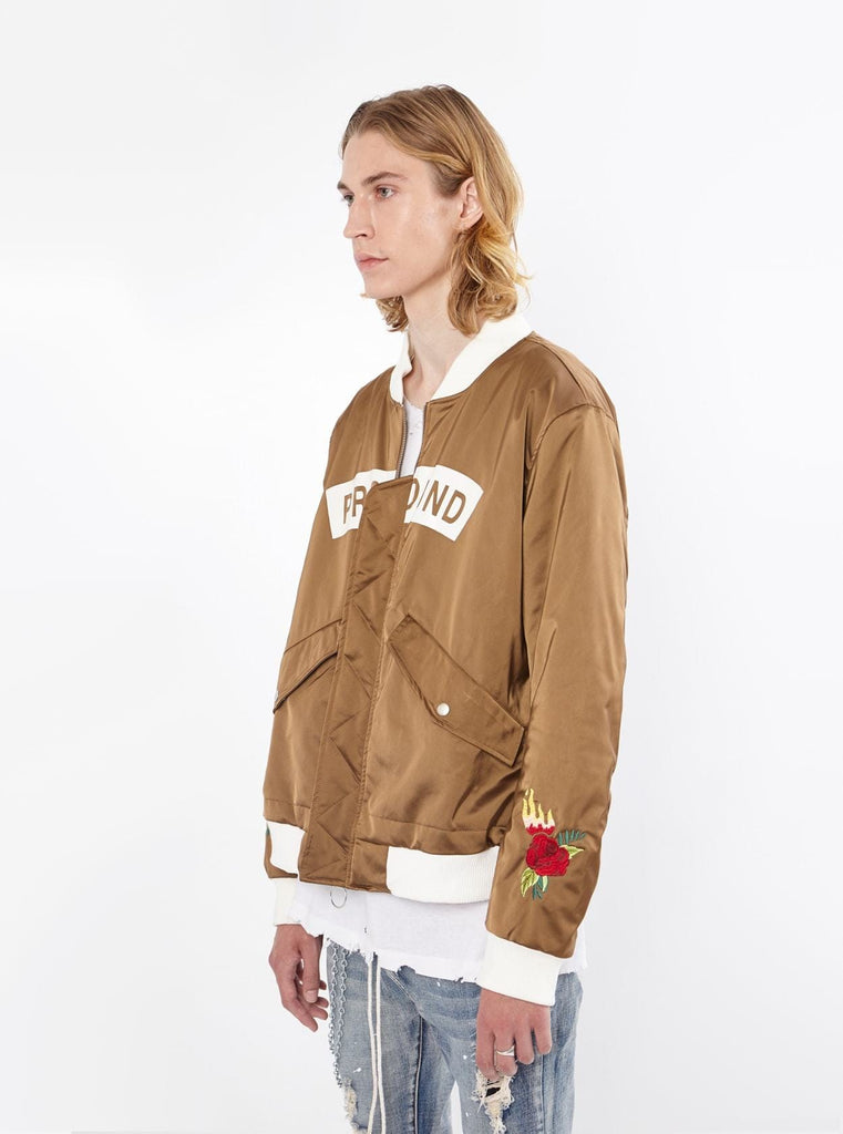 Burning Rose Bomber Jacket in Olive-Brown