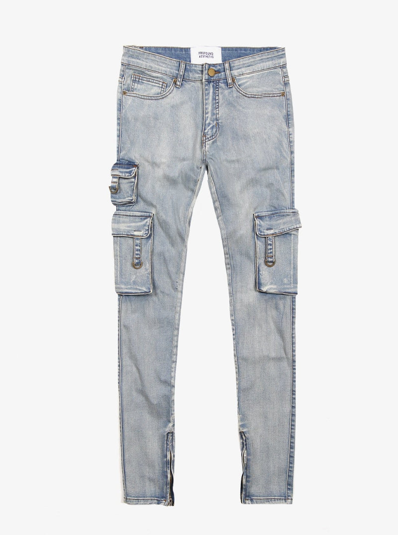 PRE-ORDER | D-Ring Cargo Jeans in Light Sandwash