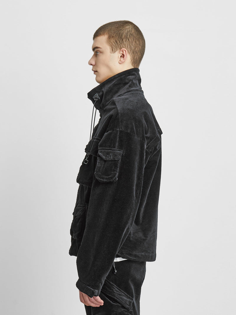 Corduroy Multi-Pocket Cargo Jacket in Black (6088567390398)