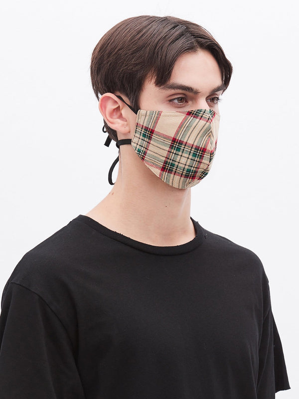 Cream Plaid Strap Cotton Mask (4689840767047)