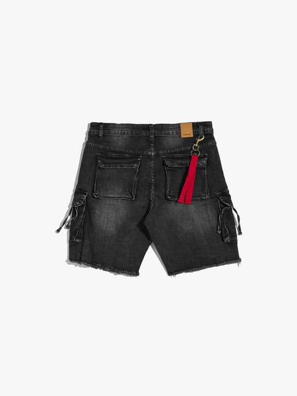 D-Ring Denim Cargo Shorts in Washed Black