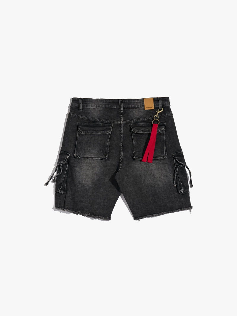 D-Ring Denim Cargo Shorts in Washed Black (4749114441799)
