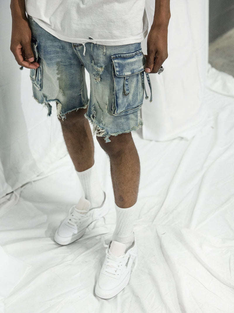 D-Ring Denim Cargo Shorts in Sandwash (4749098319943)