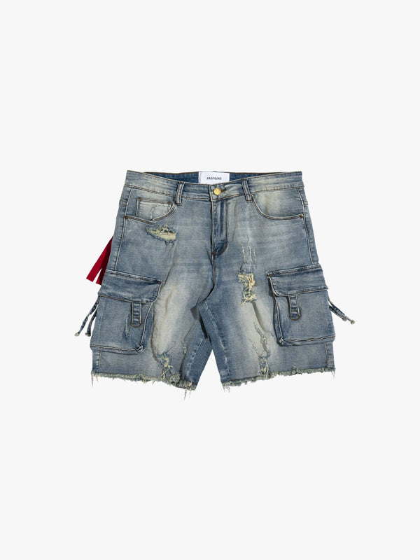 D-Ring Denim Cargo Shorts in Sandwash