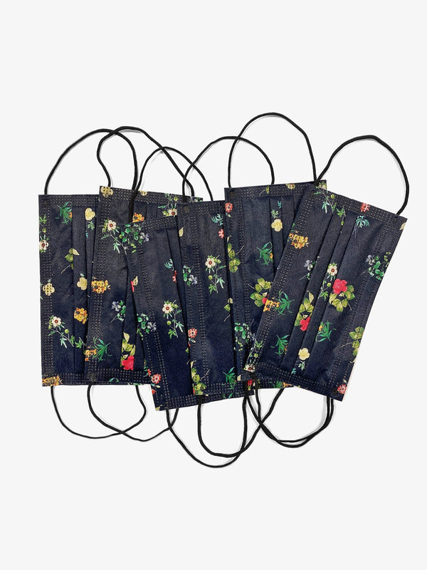 6 Pack | Floral Filtered Fabric Face Mask in Deep Navy