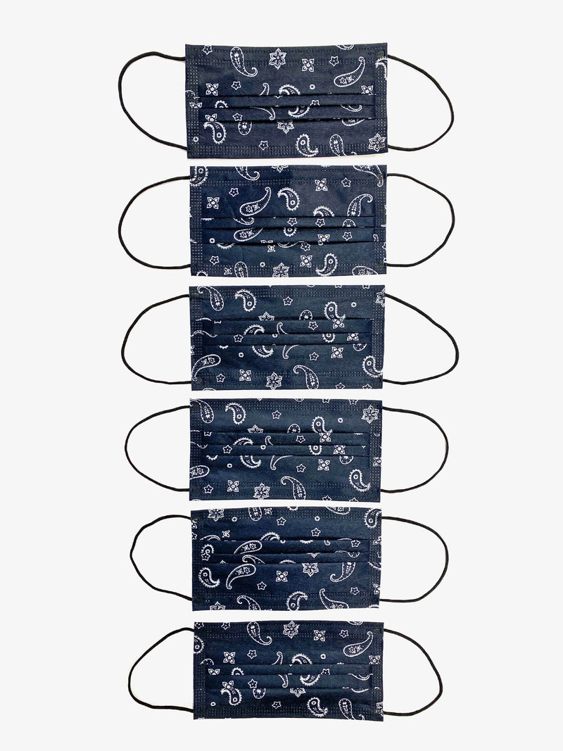 6 Pack | Paisley Filtered Fabric Face Mask in Deep Navy (4878594179143)