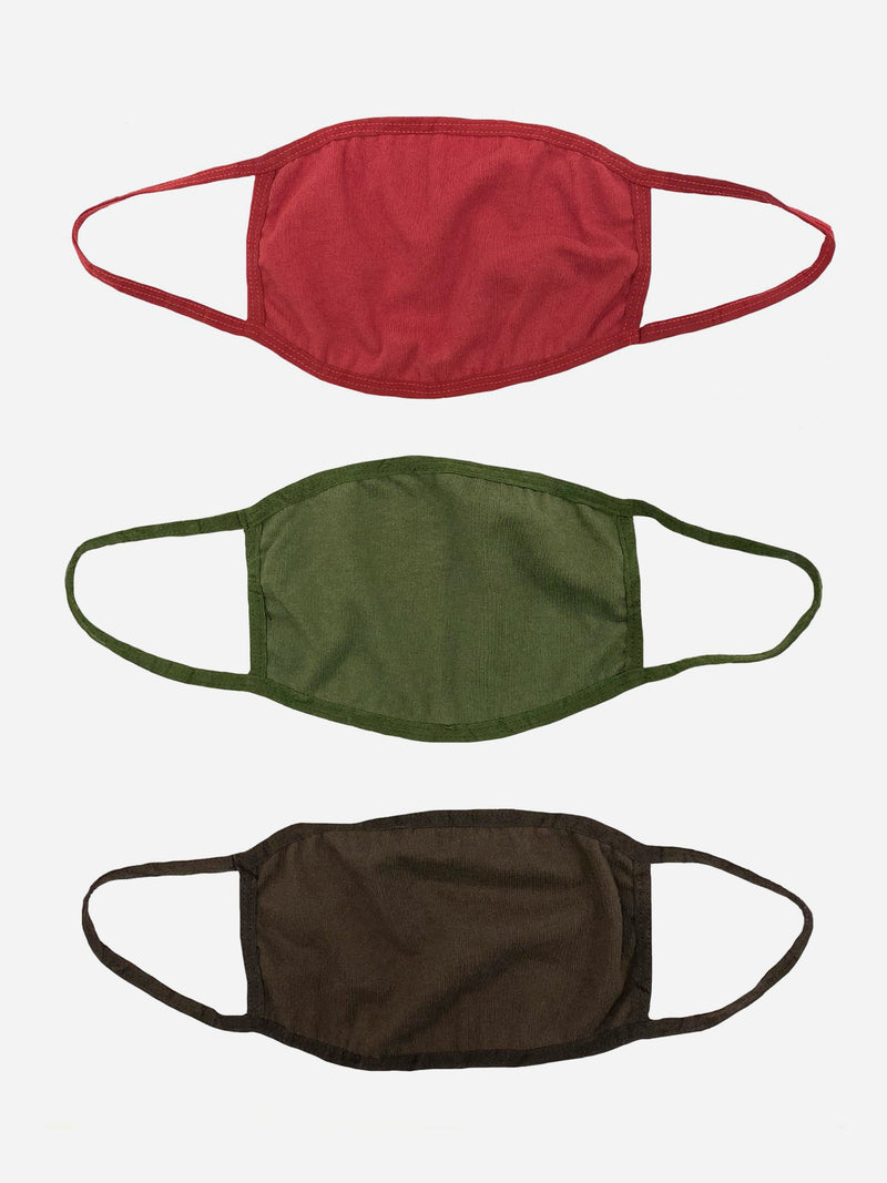 Three-Pack Earth Tone Cotton Face Mask (4606661492807)