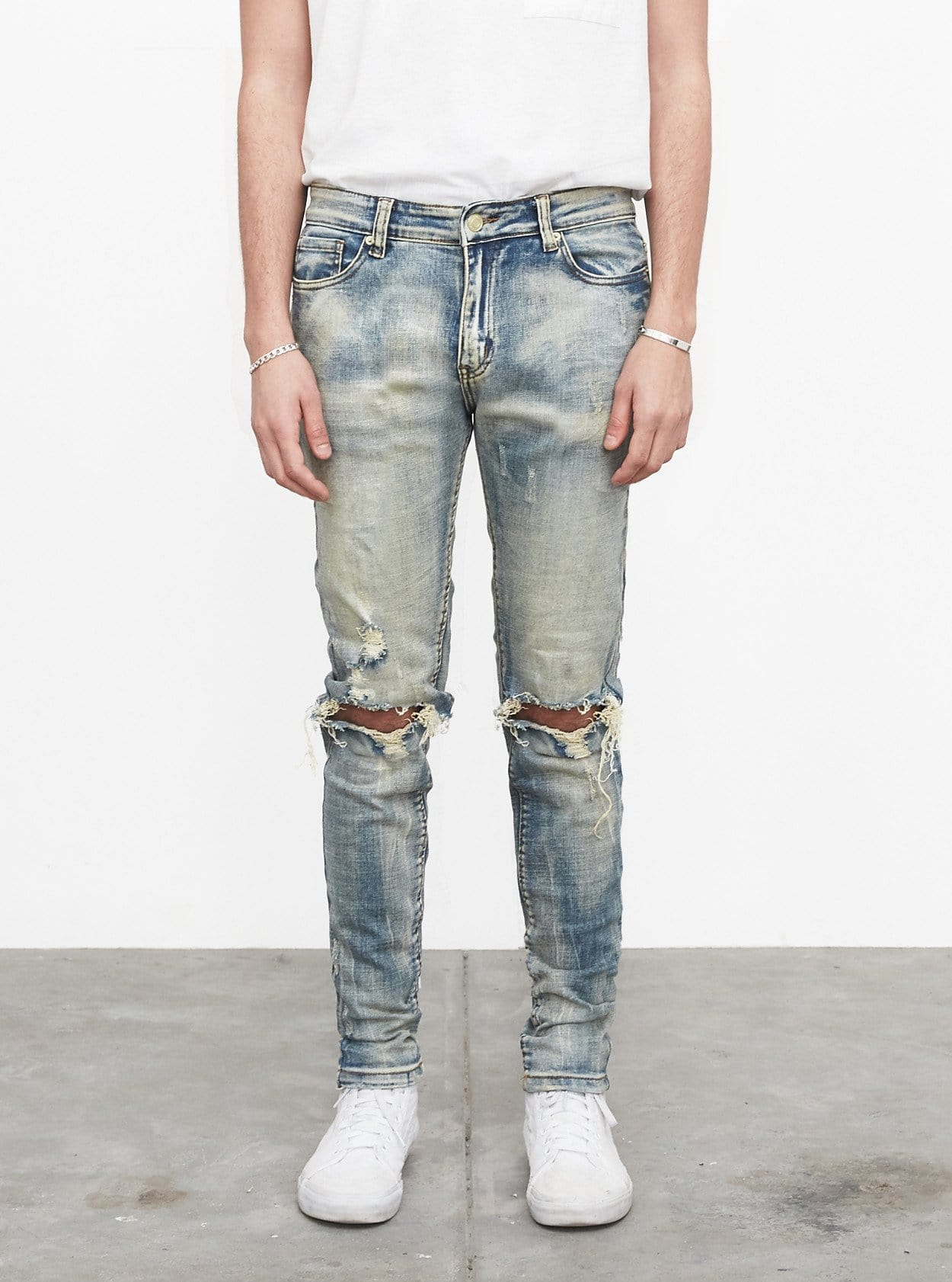 Earth Washed Destroyed Denim Jeans