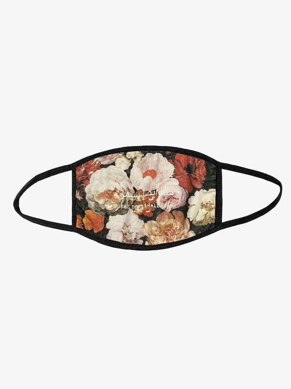 Floral Painting Black Face Mask