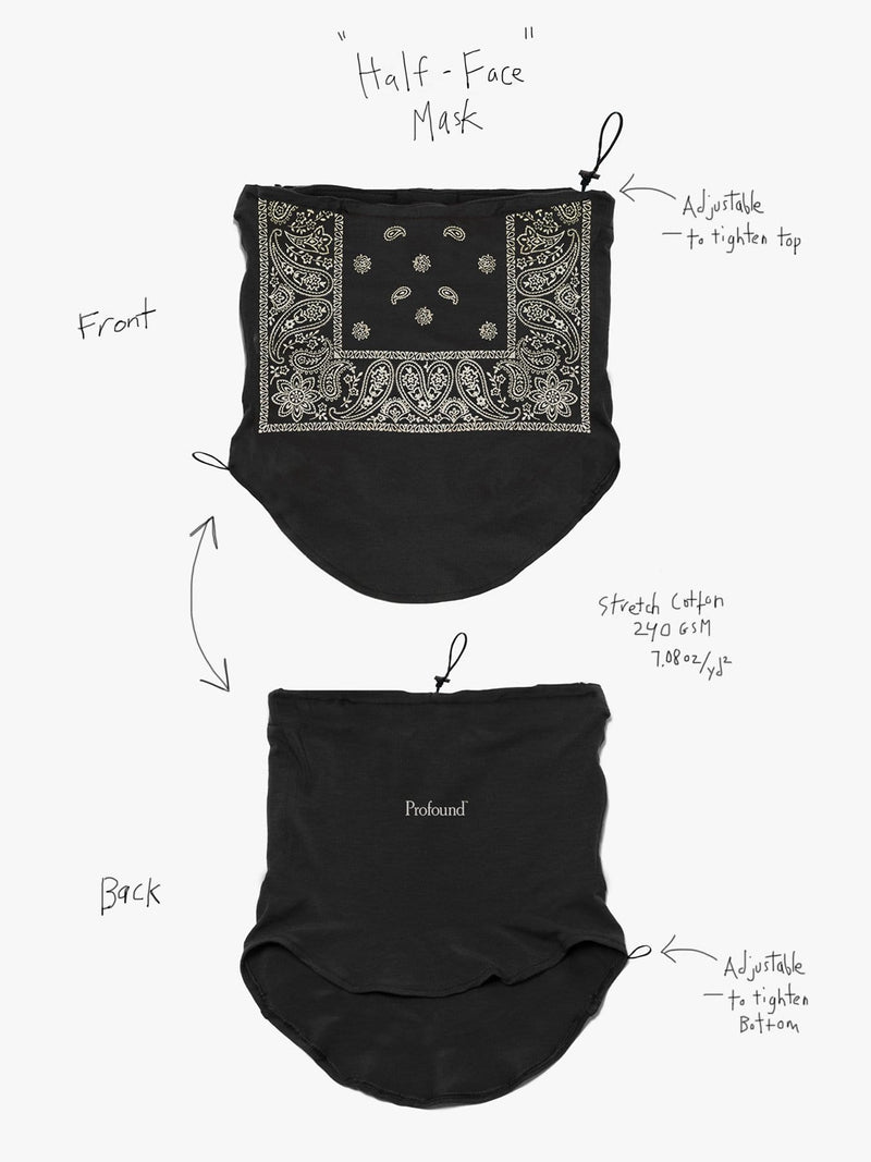 Half-Face Bandana Paisley Black Face Mask