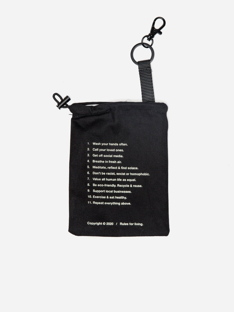 Rules for Living Face Mask Storage Pouch w/ Keychain Hook (4702312857671)
