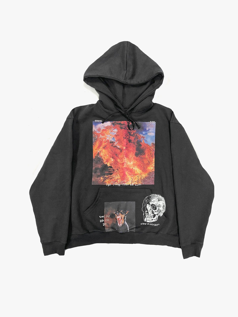 Black Flame Graphic Hoodie in Vintage Black