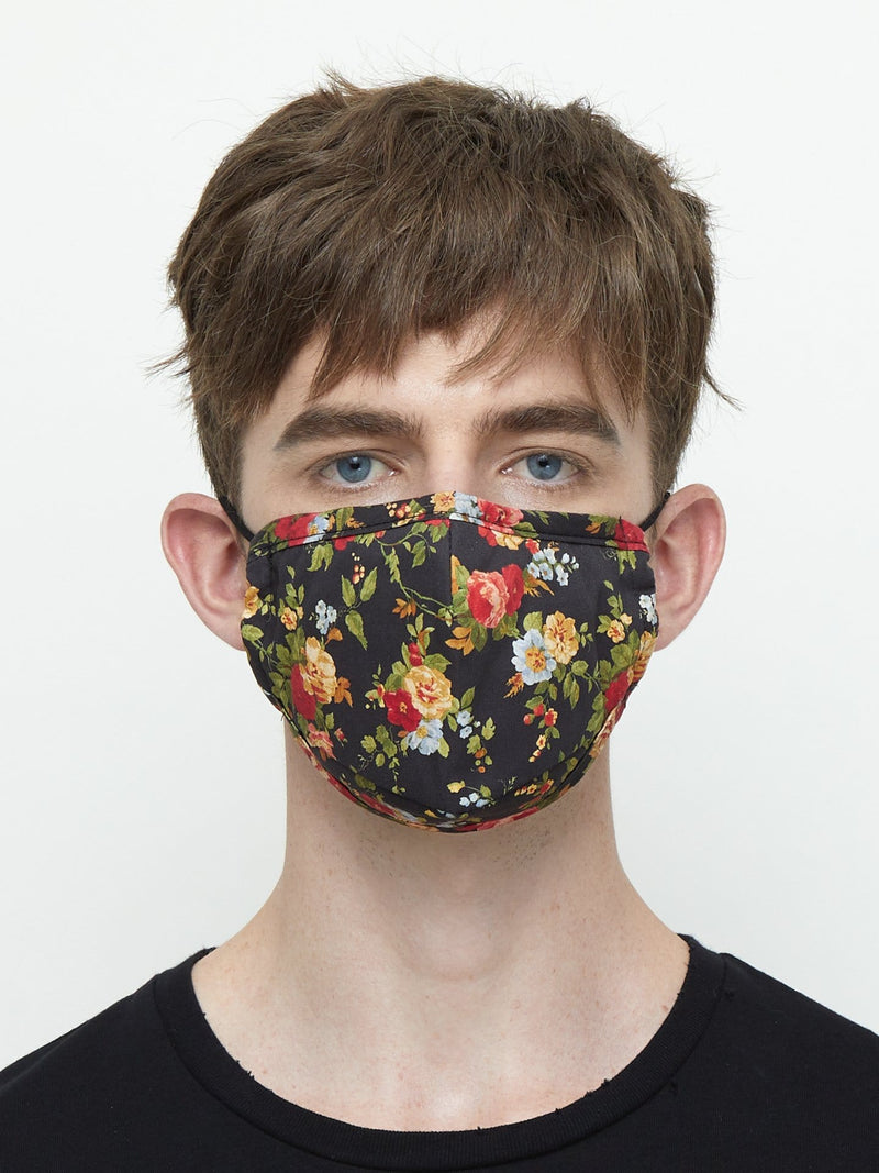 Triple-Layered Protective Black Floral Print Face Mask (4703498666055)