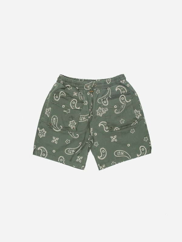 Paisley Shorts in Washed Olive (6073875005630)