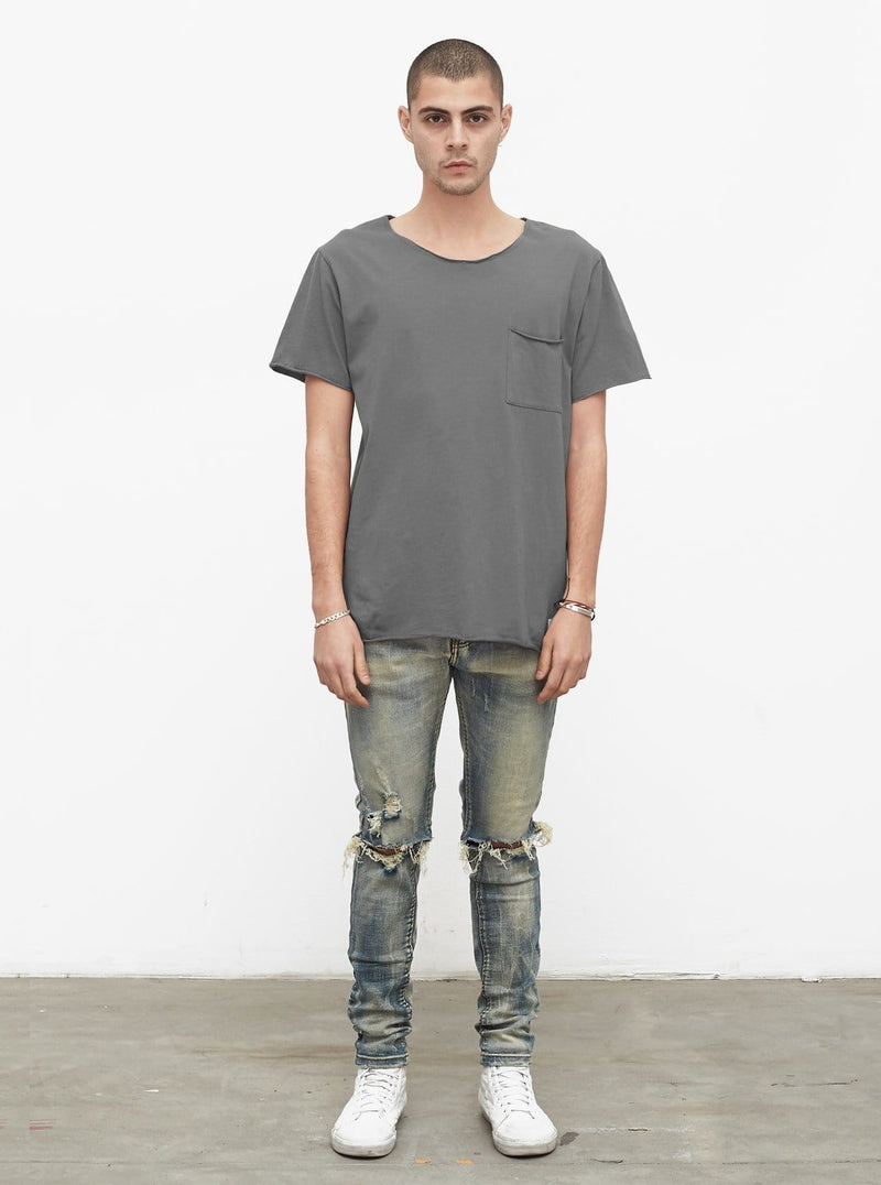 Basic Raw-Cut Short Sleeve Tee in Gunmetal Gray