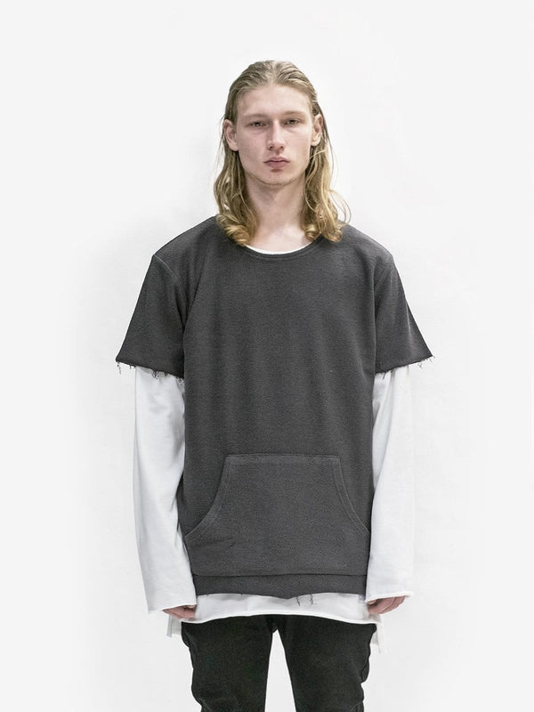 Reversed French Terry Pullover Raw-Cut Sweatshirt in Gunmetal