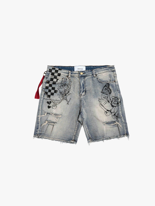 Destroyed Denim Hand Art Shorts (1321798467655)