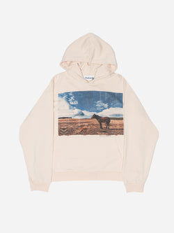 """Kill The Past"" Horse Hoodie in Cream (4865021608007)"