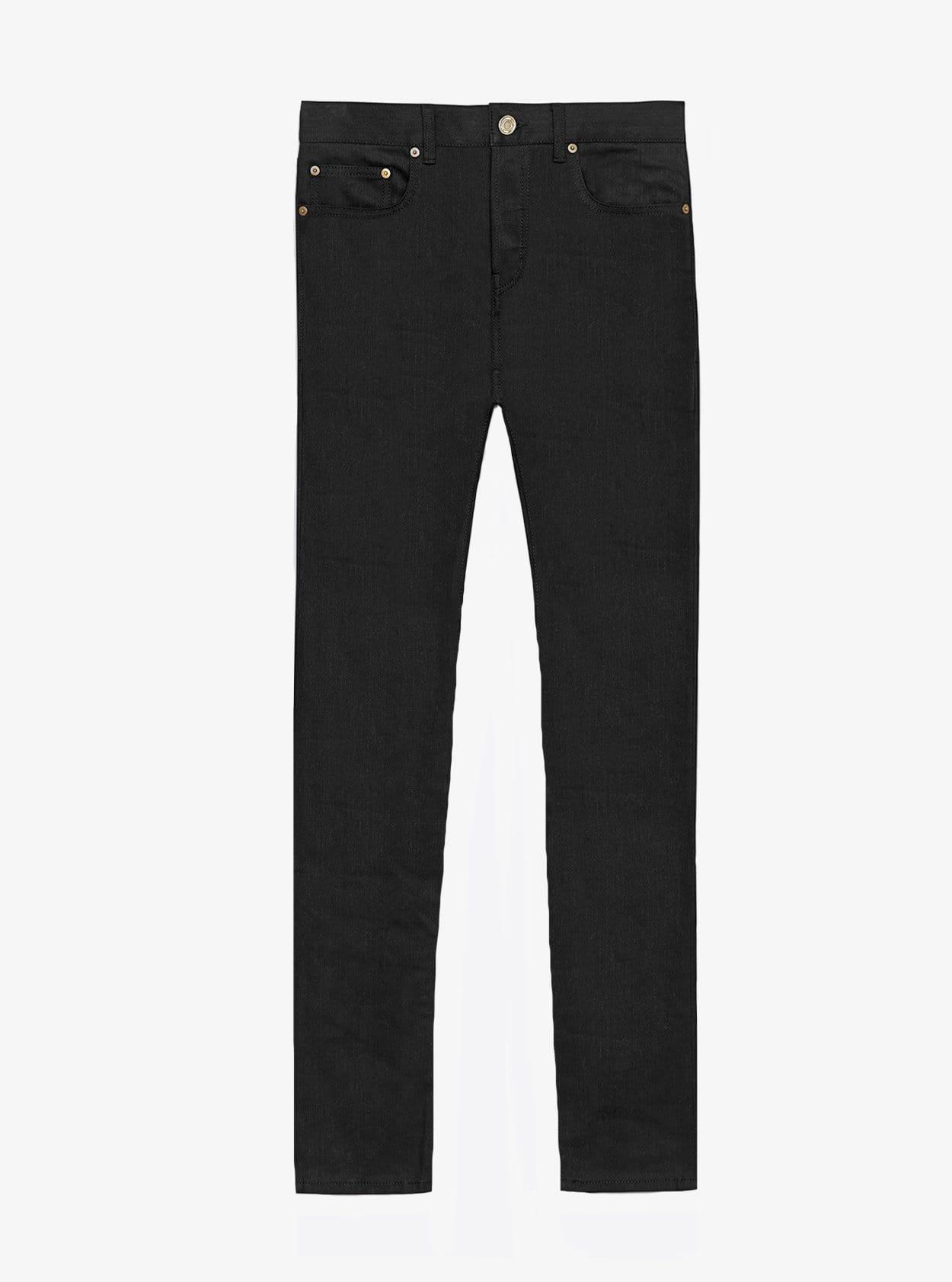 Jet black skinny fit denim jeans by profound aesthetic