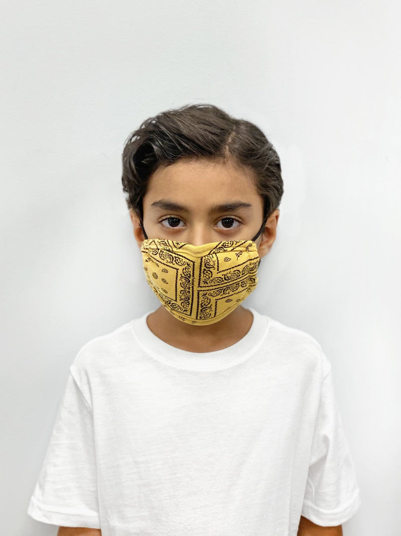KIDS | Protective Multi-Bandana Yellow Paisley Face Mask (4776230617159)