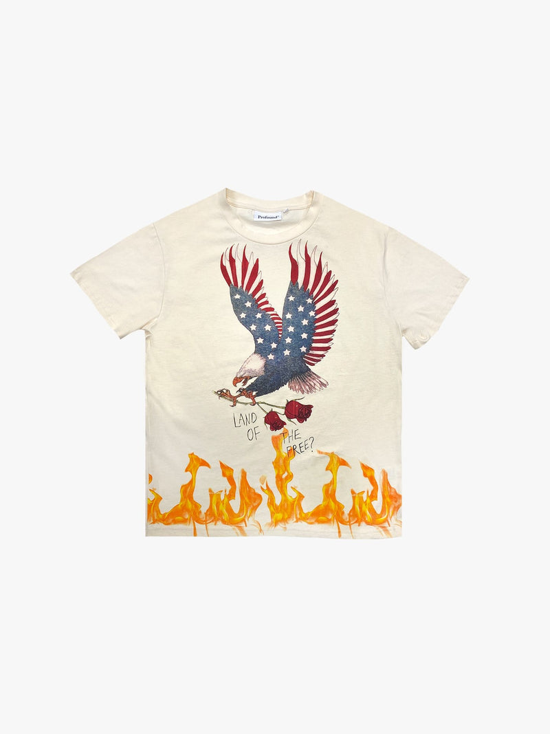 """Land Of The Free"" Tee in Natural"