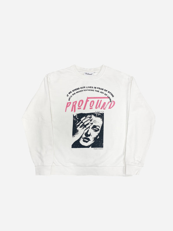 Lives In Fear Crewneck Sweatshirt in Vintage White (6134686613694)