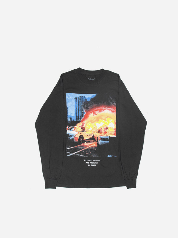 Fire Chaos Long Sleeve Tee in Black (4694766616647)